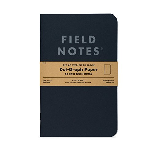 "Amazon.com : FIELD NOTES - Pitch Black Dot-Graph Paper Notebook 2-Pack - (Large Size 4.75"" x 7.5"") : Office Products"