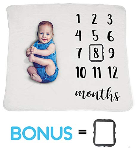 (Baby Monthly Milestone Blanket Boy Girl w/Photo Prop Set | Thick Fleece Newborn Baby Milestone Blanket | Large Personalized Photography Background Blanket | 1-12 Months Baby Shower Gift for Mom)