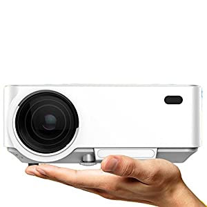 ERISAN LED Video Projector (Warranty Included), 1500 Lumens Full Color , Mini Multimedia LCD Projector, Support 1080P HD Video w/ HDMI VGA AV-In USB SD (White)