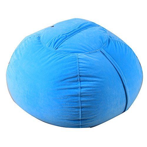 Gotian Toy Storage Bag, Kids Stuffed Animal Plush Toy Storage Bean Bag Soft Pouch Stripe Fabric Chair, Kids Rug Portable Kids Toys Organizer Storage Bag Play Mat (Sky Blue)