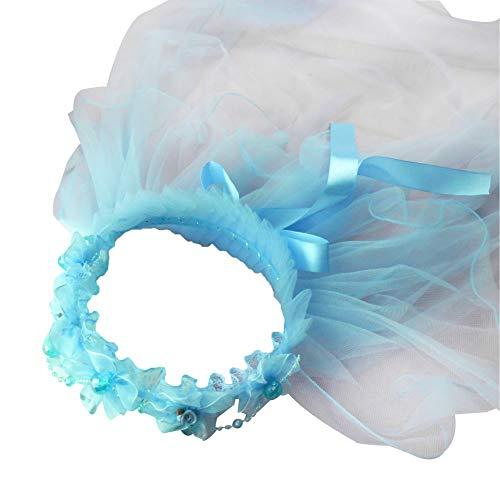 Kofun Children Girls Princess Hairband Double Layers Tulle Veils Flowers Garland Ruffles Floral Lace Satin Lace Up Ribbon Wreath Headband Beaded Chain Blue