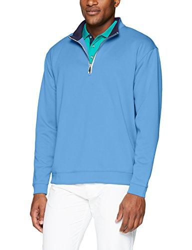(Men's Pebble Beach Golf Long Sleeve 1/4 Zip Pullover with Contrast Trim, Regatta Blue, Large)