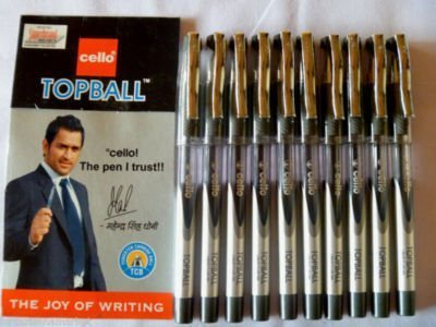 10 X Cello Topball PEN Top Ball Point Smooth Writing Blue Brand Ad By Indian Cricketer Mahindera Singh Dhoni 10 Pens Lot by Cello Topball
