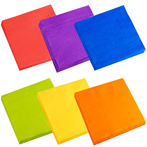 Cocktail Napkins, Spnavy 120 Pieces 5X5 Inch Beverage Luncheon Paper Napkins Colorful 2-Ply Dinner Napkins for Anniversary Decoration Birthday Party Supplies, 6 Colors