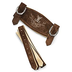 Schöneberger Men's Bavarian Suspenders for Lederhosen – Oktoberfest Leather Trousers Suspenders Classic