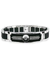 Stainless Steel Classic Poké Ball Pokémon Engraved Black ID Bracelet
