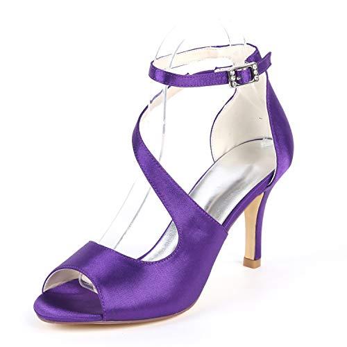 Flor Tacón Redonda 35 Novia Purple Punta 42 L 6cm yc Mujeres Zapatos Boda Tacones De Para Altos Marfil Baja nxqOqTwAZ8