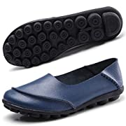 Hsyooes Women's Soft Leather Mocassins Casual Slip On Loafers Flat Boat Shoes Driving Shoes