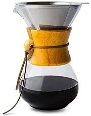 Comfify Häll över kaffebryggare med borosilikatglaskaraff och återanvändbart rostfritt stålfilter manuell kaffedroppare med äkta trähylsa – 8,5 dl. (maple)