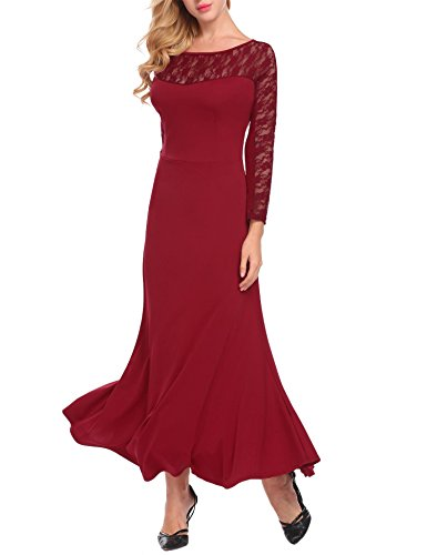 ANGVNS Women's Long Sleeve Lace Patchwork Sheath Maxi Long Dress Wine Red XL -