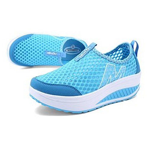Fitness Out Blue On Women's Sneaker Platform Slip Mesh Work Shoes U0XwZBf