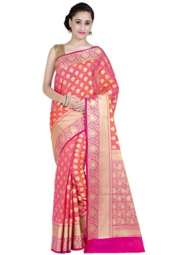 Chandrakala Women's Peach Kataan Silk Blend Banarasi Saree,Free Size(1269PEA)