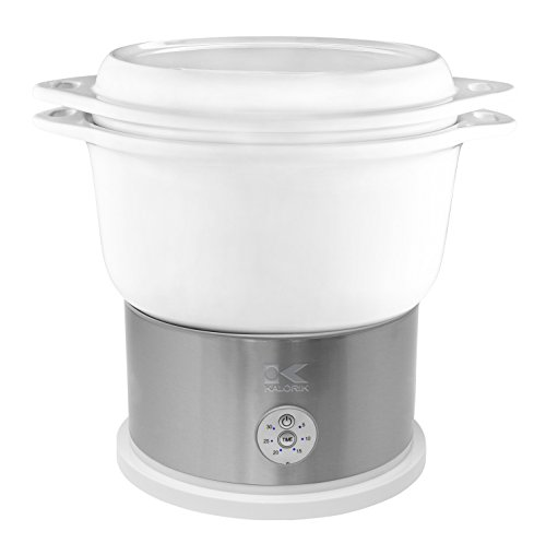 Kalorik All Natural BPA Free Ceramic Food Steamer, DG 44815 W, Prepare Healthy Meals with Smart Digital One-touch Control, 4.5 Liter, White