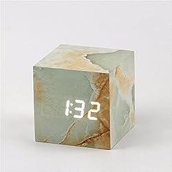 HOMEE Clock-led sound control wood creative electronic clock marble alarm clock,Aa