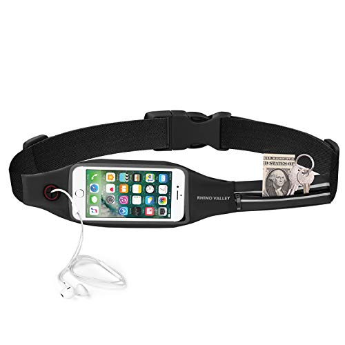 Rhino Valley Running Belt Waist Pack, Sports Fanny Pack Fitness Workout Belt, Water Resistant Dual Pockets with Clear Touch Screen Compatible with iPhone 11 11 Pro Max X 8, Galaxy Note 10 10 Plus S10
