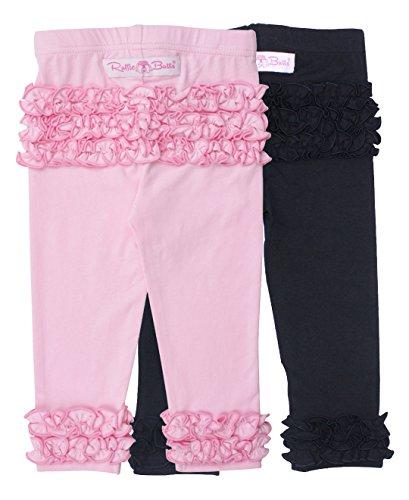 Loungewear Infant Girls Pant Baby (RuffleButts Infant/Toddler Girls Pink/Black 2pc Ruffle Leggings Set - Black/Pink - 6-12m)