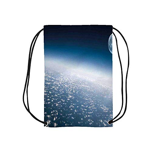Space Personalized Drawstring Bag,Aerial Atmosphere View of the Planet Earth with Moon Satellite World Horizon Picture for School Shopping,One_Size