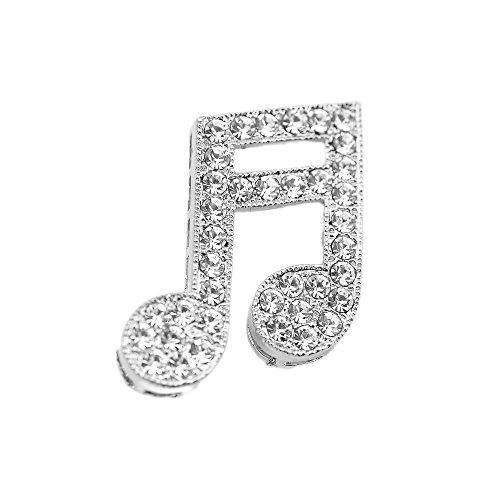 SpinningDaisy Tiny Jewel Crystal Music Sixteenth Note Brooch Pin -
