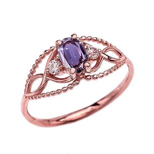 10k Rose Gold Elegant Beaded Solitaire Ring With June Birthstone and White Topaz (Size 6)