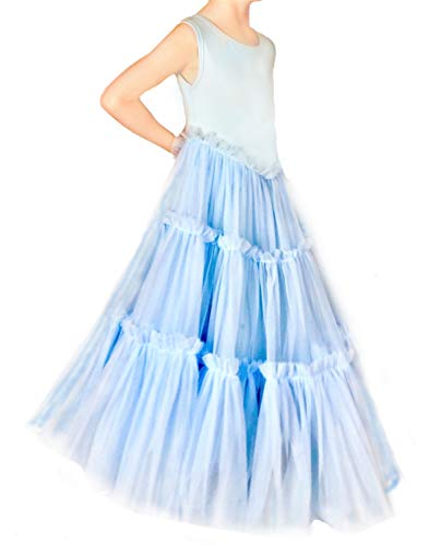 Jennifer and June Girl's Tiered Tulle Tutu Twirling Princess Gown. Sizes 2T, 3T, 4T, 5T and 6T. Light Blue (Light Blue, -