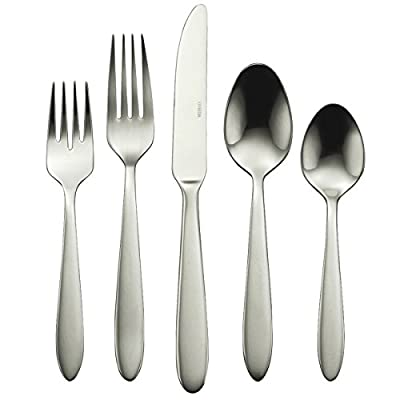 Oneida B336045A Mooncrest 45-Piece Flatware Set, Service for 8,Silver,45 Piece - 45-piece flatware set with service for 8. Set includes 8 each: Dinner knife, Dinner Fork, Salad/Dessert Fork, Soup/Cereal Spoon and Teaspoon plus 2 Serving Spoons, 1 Serving Fork, 1 Sugar Spoon, and 1 Butter Knife 18/0 stainless steel. Durable and stylish Mooncrest is unadorned, sleek and simple. The ideal flatware choice for the purist at heart. This popular design boasts a bright, highly reflective finish. A pattern well suited for contemporary tableware - kitchen-tabletop, kitchen-dining-room, flatware - 411hfLYCTpL. SS400  -