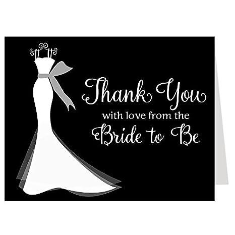 bridal shower thank you cards wedding dress elegant gown shower black