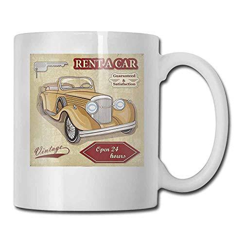 Cars Cup Mug Vintage Car Rentals Commercial Illustration Print Keys Original Dated Auto Objects Design Funny Gift Tan Red 11oz]()