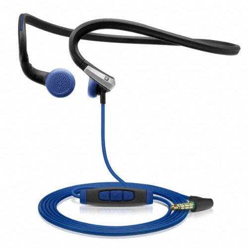 Sennheiser PMX 685i Sports In-Ear Neckband Headphones - Black/Blue, 3.5 mm, angled (Discontinued by Manufacturer) (Earbuds Sennheiser Adidas)