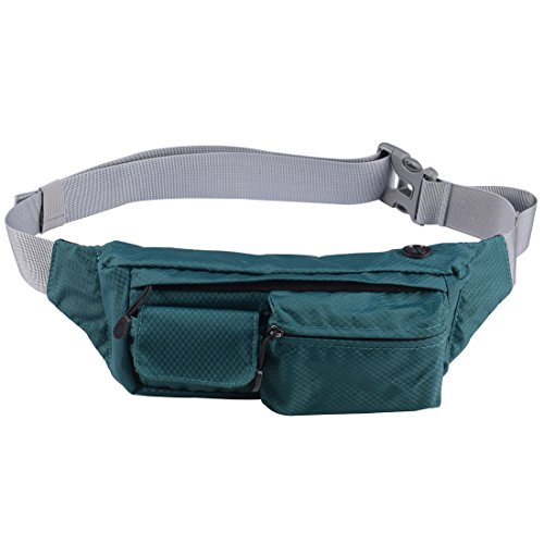 Fanny Pack Waist Pack Bag for Men Women Water Resistant Chest Shoulder Bag Running Belt Phone Holder with 3 Pockets for Outdoors Workout Traveling Hiking Climbing Casual Running