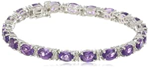 """Sterling Silver Oval Cut Amethyst with Genuine White Diamonds Bracelet, 7.25"""" from Amazon Curated Collection"""