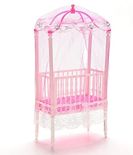 Amazon Com Dollhouse Furniture Small Sweet Baby Crib For Barbie