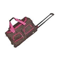 Rockland PRD322 Luggage Rolling Duffle Bag, Pink Leopard, Medium, 22-Inch