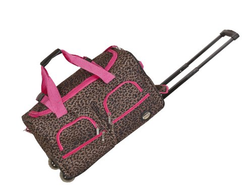 (Rockland Luggage 22 inch Rolling Duffle Bag, Pink Leopard, Medium)