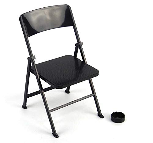Warmtree 1/6 Scale Black Foldable Chair for 12