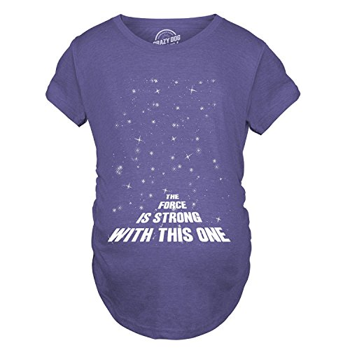 Maternity Force is Strong Funny Pregnancy T-Shirt for Expecting Mothers (Heather Purple) - S