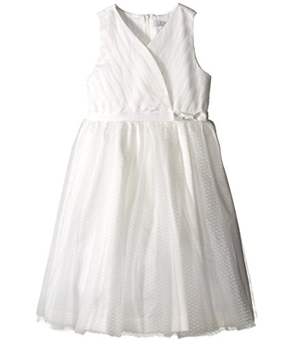 Us Angels Big Girls' Cross Bodice Tulle Dress, Ivory, 14 by US Angels