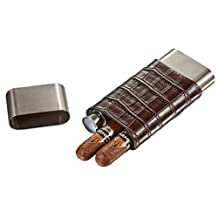 Visol Hacienda Crocodile Patterned Leather and Stainless Steel Cigar Case Flask Combo, Brown