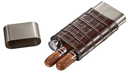 Visol Hacienda Crocodile Patterned Leather and Stainless Steel Cigar Case Flask Combo, (Cigar Flask)