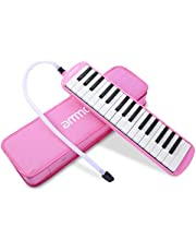 ammoon Melodica 32 Keys Piano Style Keyboard Harmonica Mouth Organ with Mouthpiece Cleaning Cloth Carry Case for Beginners Kids Musical Gift(Pink)