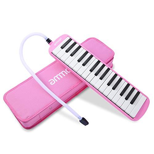[해외]Ammoon 건반 하 모니카 32 열쇠 피아노 스타일 마우스 피스 클리닝 크로스 캐리 케이스와 초보자를 위한 음악 선물 (핑크) Melodica Pianica / ammoon Keyboard Harmonica 32 Key Piano Style Mouthpiece Cleaning With Cross Carry Case Music Gift...
