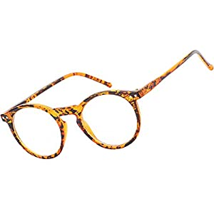 Beison Horn Rimmed Round Eyeglasses Frame Plain Glasses Clear Lens (Ink yellow, 47mm)
