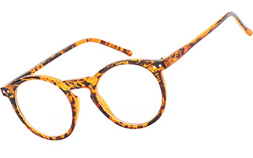 Beison Horn Rimmed Round Eyeglasses Frame Plain Glasses Clear Lens (Ink yellow, - Yellow Glasses Frames