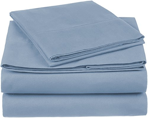 Pinzon 300 Thread Count Organic Cotton Bed Sheet Set, Twin XL, Flint Blue
