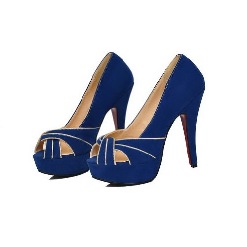 Toe Solid Womans Pumps Suede UK Frosted Open 5 Peep Blue VogueZone009 5 qnYdHwtH