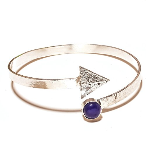 Gorgeous! Blue Dyed Sapphire Sterling Silver Overlay 10 Grams Bangle/Bracelet Free Size by Shivi