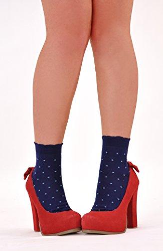 Marcoliani Women's Daisy-top Hot Shortys Italian ExtraFine Cotton Socks - 1 Pair Cobalt Blue by Marcoliani Milano (Image #3)