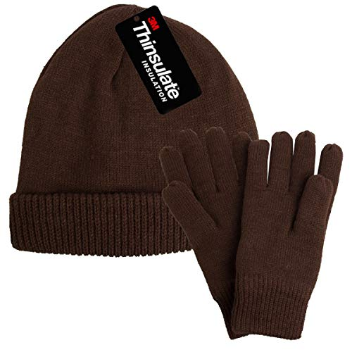 DG Hill Mens Winter Hat and Gloves Set with 3M Thinsulate Fleece Lining Beanie Brown