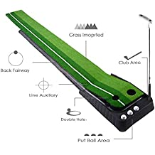 RamiVox Golf Putting Green Mat Indoor Outdoor Use With Auto Ball Return For Home Use - Extra Long 10.5 Feet with 2 Holes, 3 Practice Balls Include