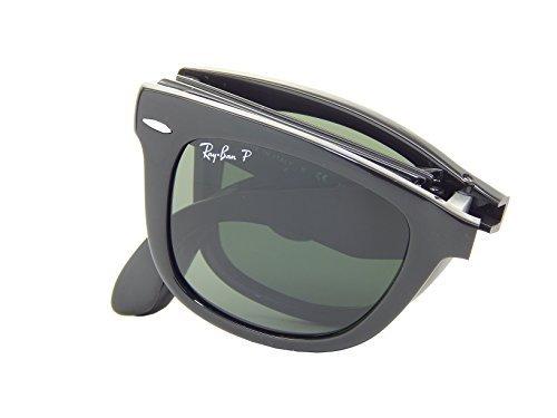 601 58 Black Polarized Crystal - Ray Ban Folding Wayfarer RB4105 601/58 Black/Crystal Green Polarized 54mm Sunglasses