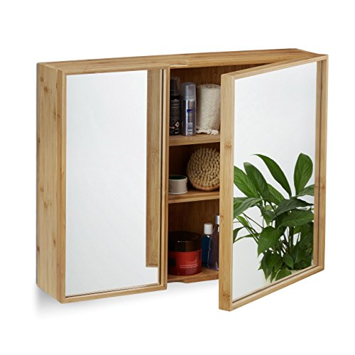 Relaxdays Bathroom Bamboo Mirror Cabinet 2 Doors, Hanging Cupboard, Assembled Wall-Mounted Cabinet H x W x D: 50 x 65 x 14 cm, Natural by Relaxdays